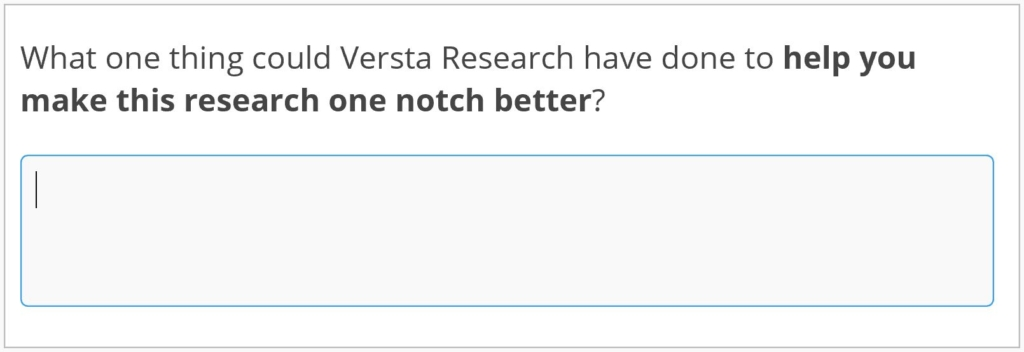 What one thing could Versta Research have done to help you make this research one notch better?