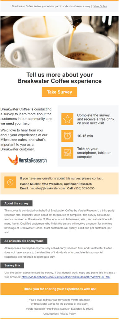 A Snazzy Revamp Of Survey Invitations Versta Research