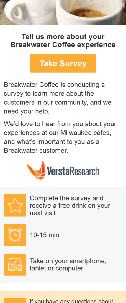 Survey template adapts for mobile devices.