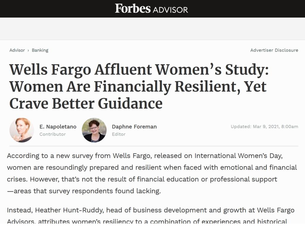 Forbes Article on Wells Fargo Affluent Women Study Image